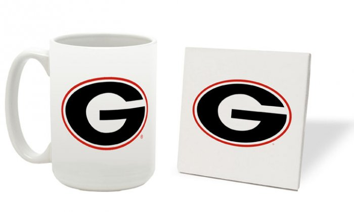 GEORGIA BULLDOGS 15 OUNCE CLASSIC COLLECTION LOGO SERIES MUG WITH MATCHING COASTER FREE SHIPPING