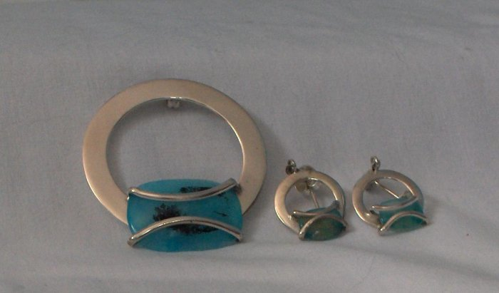 100% .950 Silver Set with Turquoise Stone - Handcrafted