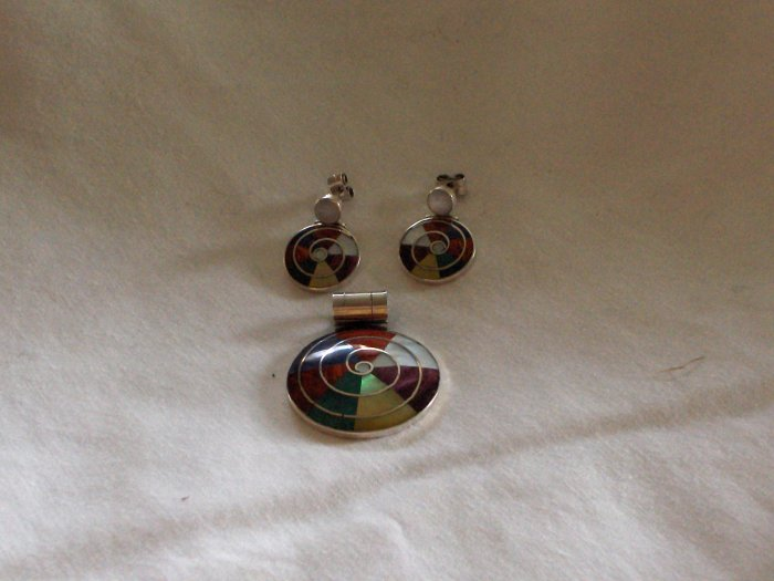 Genuine .950 Handcrafted Sterling Silver Set Created with Multiple Stones
