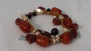 .950 Sterling Silver Amber and Onyx Bracelet with Leather
