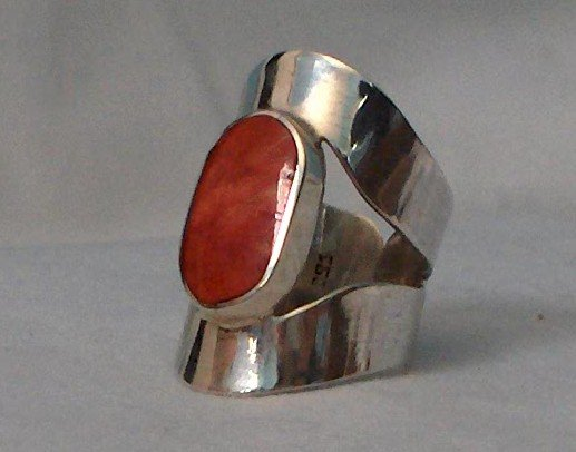 Beautiful 100% Handcrafted .950 Sterling Silver Ring with Red Jasper Stone