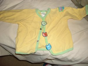 Unisex Yellow teddy bear snap up top 6-9 months
