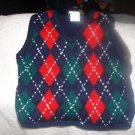 Boy's pullover vest12M red, blue, green diamond pattern