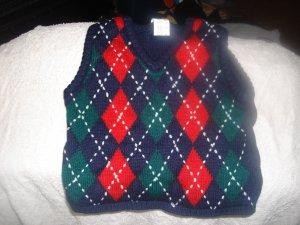 Boy's pullover vest12M red, blue, green diamond pattern