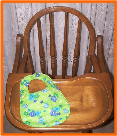Baby Girl Bib Green With Blue Flowers