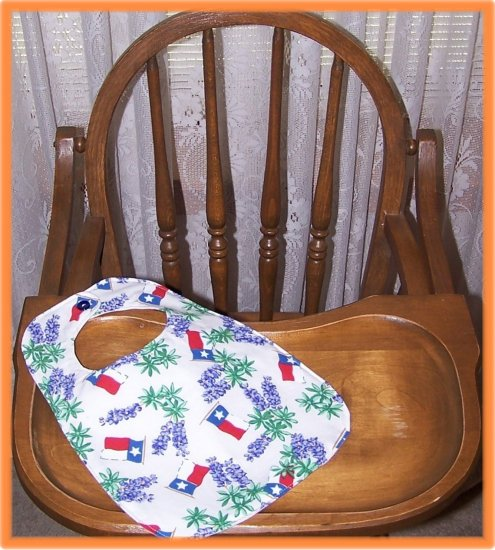 Toddler Bib Texas Flag and Bluebonnets on White Background
