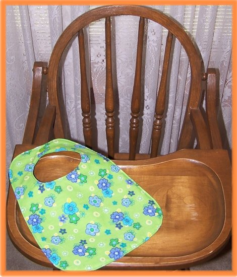 Toddler Girl Bib Green With Blue Flowers