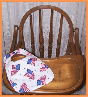 Toddler Bib American Flag on White Sale Price