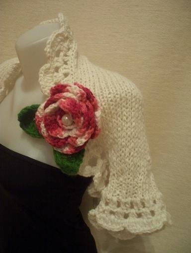 Knitted-crocheted ivory wedding shrug-