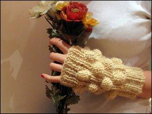 Beige mohair fingerles gloves for precious ladies.OOAK