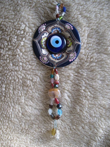 Macreme evil eye with hand painted copper plate..Door-wall hanger.