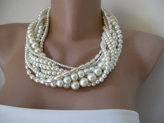Wedding Bold Bridal,ivory pearl ,chunky layered ,Handmade,precious necklace.