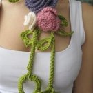 Crocheted Purple,pink,ivory flowers.lariat