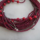 Chunky layered/Wedding/fuchsia bead/ glass red pearl necklace