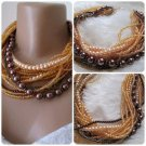 Chunky layered Wedding citrine seed bead, brown glass pearl necklace