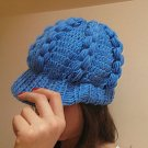 Crocheted blue hat,beanie,cap.beret
