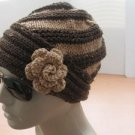 Knitted brown hat,beanie,spiral