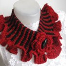 Knitted-Crocheted black-red neck warmer.OOAK