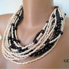 Bold Bridal Wedding ,chunky layered grey tones pearl-seed beads , necklace.