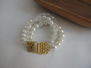 Wedding/Ivory Glass Pearl /2 strands/crystal/chic bracelet/gold plated closure.