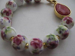 Handmade porcelain,semi-precious fuchsia stone Bracelet.Brides,bridesmaids.Emb