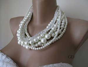 Chunky layered Wedding ivory glass pearl,rondelle glass bead necklace