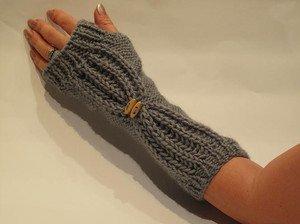 Knitted grey  fingerless mittens,gloves,arm warmer.