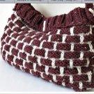 Knitted burgundy-ivory bag.crochet,fashion,bag