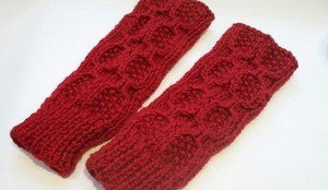 Knitted Red mittens,fingerless,gloves