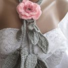 Crocheted pink flower brooch.lariat -necklace