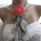 Crocheted sweet flower brooch.lariat -necklace