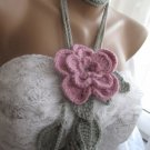 Crocheted pink flower brooch.lariat