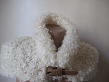 Knitted ivory mohair neckwarmer. .Ready to ship.Handmade.OOAK.