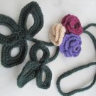 Crocheted purple,claret,ivory flower.lariat