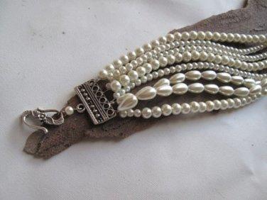 Handmade ivory Pearl Bracelet Chunky Layered Glass .Bridal bracelet,