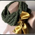 Knitted  green neckwarmer,neckwrap,scarf,