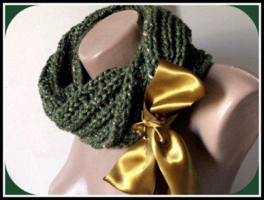 Knitted  green neckwarmer,neckwrap,scarf,