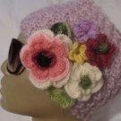 Head-ear warmer,knitted lilac mohair yarn