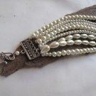 Handmade ivory Pearl Bracelet Chunky Layered Glass .Bridal bracelet,wedding