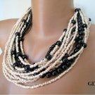 Bold Bridal Wedding ,Handmade,chunky layered black pearl necklace,beige seed b
