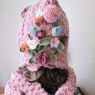 Pink wool knitted hat,beanie,beret.neckwarmer