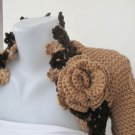Knitted -crocheted handmade mustard color shrug