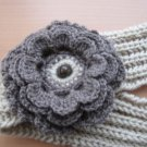 Head-ear warmer,knitted earth color-beige yarn