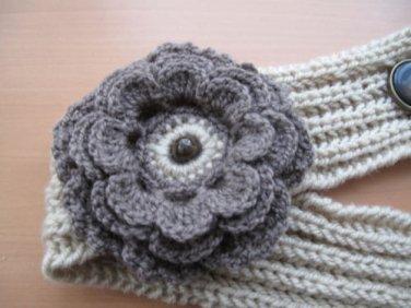 Head-ear warmer,knitted earth color-beige yarn