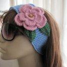 Head-ear warmer,knitted blue yarn