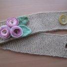 Head-ear warmer,knitted beige mohair yarn