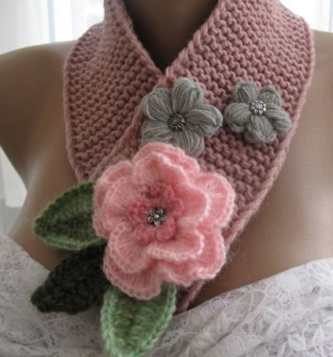 Knitted  rose color neckwarmer,neckwrap,scarf,