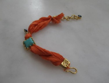 Pure silk fabric bracelet,gold plated 4