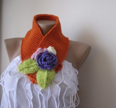 Knitted orange neckwarmer,neck wrap,scarf