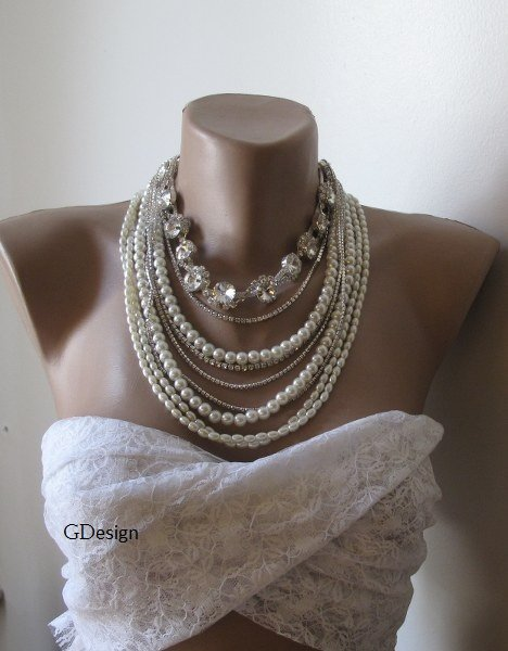 Chunky layered Wedding drop ivory glass pearl necklace